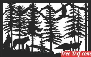 download wolf peacock scene forest art free ready for cut