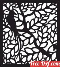 download decorative bird on branch panel screen free ready for cut