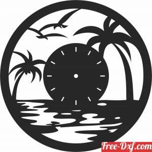 download palm beach scene Wall vinyl Clock free ready for cut