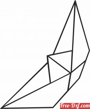 download Geometric Polygon paper boat free ready for cut