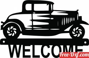 download welcome old car sign free ready for cut