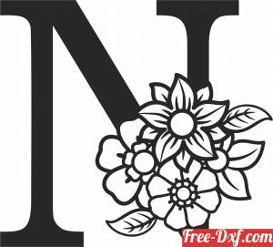 download Monogram Letter N with flowers free ready for cut