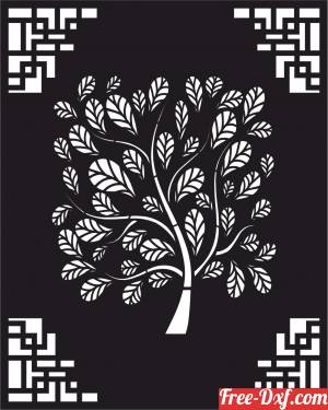 download decorative panel door wall screen tree pattern free ready for cut