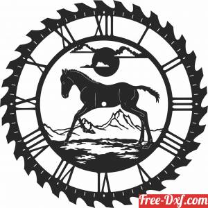 download horse scene saw Wall vinyl Clock free ready for cut