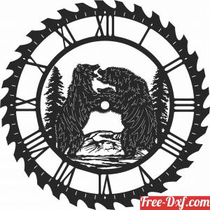 download bears fighting sceen saw wall clock free ready for cut