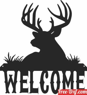 download welcome deer sign wall art free ready for cut