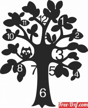 download tree Wall Clock free ready for cut