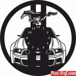 download Ford Mustang Car Vinyl Wall Clock free ready for cut