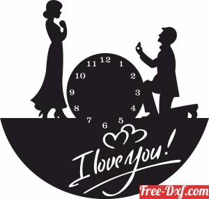 download Couple I love you wall clock free ready for cut