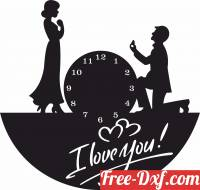 download I love you couple Wall Clock free ready for cut