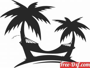download Palm trees hammock wall decor free ready for cut