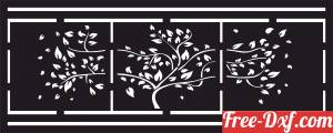download Tree panel gate screen partition door pattern free ready for cut