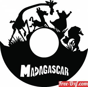 download Madagascar wall clock gift for children free ready for cut