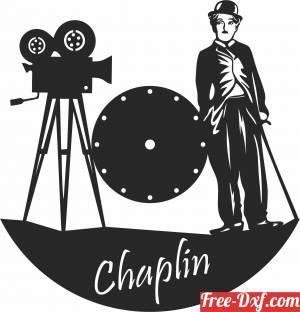 download charley chaplin Wall Clock free ready for cut