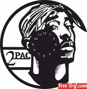download 2 pac Wall Clock free ready for cut