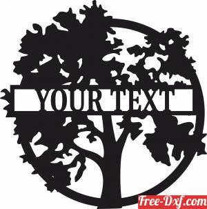 download Oak Tree Monogram wall art decor with name free ready for cut