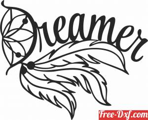 download Feather dreamer decor sign free ready for cut