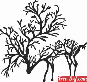 download Branch deer wall art free ready for cut