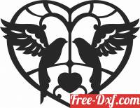 download birds on heart clipart free ready for cut