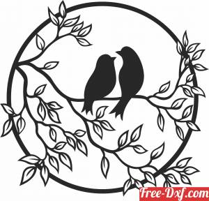 download Bird on branch floral wall decor art free ready for cut