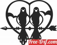 download heart arrow with birds free ready for cut