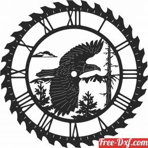 download eagle sceen saw wall clock free ready for cut
