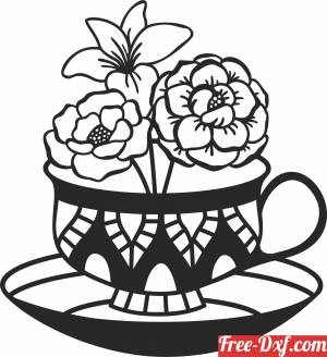 download flowers Tea cup wall decor free ready for cut