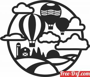 download Hot air balloon scene free ready for cut