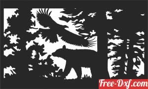 download Bear scene art wall decor Wall art free ready for cut