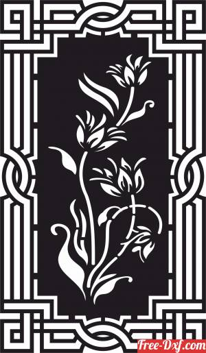 download beautiful decorative panel wall screen pattern with flower free ready for cut