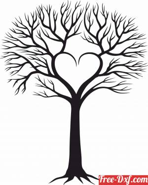 download tree of love branches with heart free ready for cut