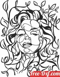 download leaves art face free ready for cut