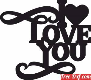 download I love you Heart Sign free ready for cut