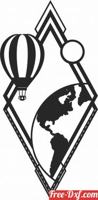 download balloon flight on the globe wall decor free ready for cut