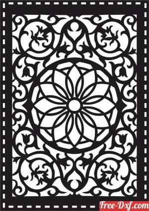 download decorative panel floral screen pattern wall partition free ready for cut