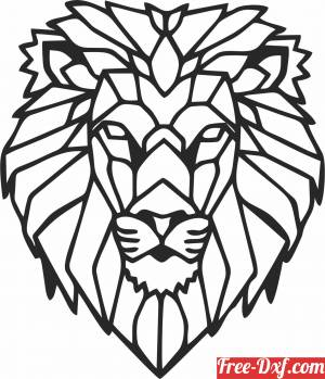 download Geometric lion wall sign free ready for cut