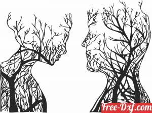 download Tree Couple Face Shape free ready for cut