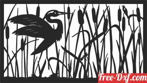 download Heron scene wall art panel free ready for cut