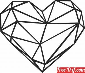 download Geometric Polygon heart free ready for cut