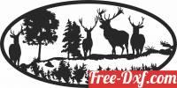download elk deer scene forest art free ready for cut