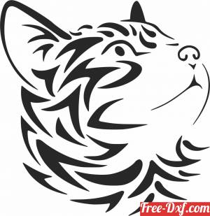 download cute tribal Cat wall decor free ready for cut