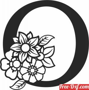 download Monogram Letter O with flowers free ready for cut