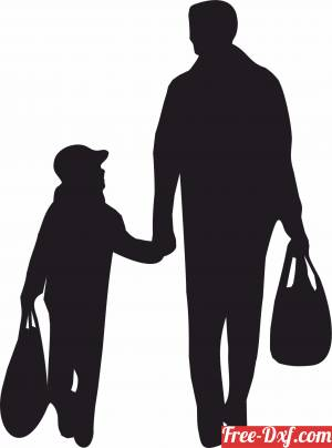 download family silhouette father with son shopping free ready for cut
