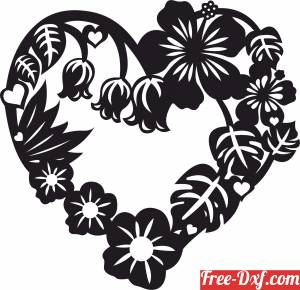 download Heart love floral sign gift for valentine free ready for cut