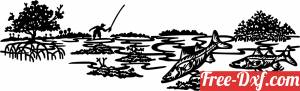 download Fishing Scenery clipart free ready for cut