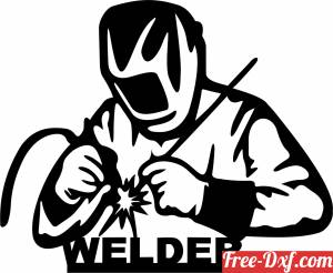 download Welder Silhouette iron man sign free ready for cut