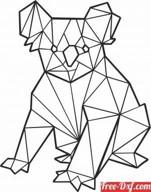 download Koala sitting polygonal free ready for cut