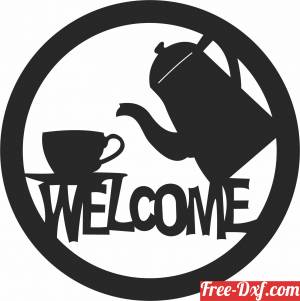 download welcome sign tea coffee pot free ready for cut