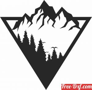 download mountain scene wall decor free ready for cut