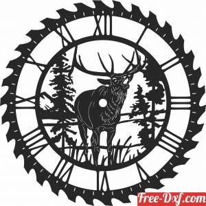 download elk sceen saw wall clock free ready for cut
